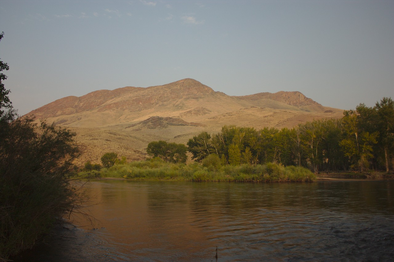 Sunrise on the banks of the Salmon River in Idaho