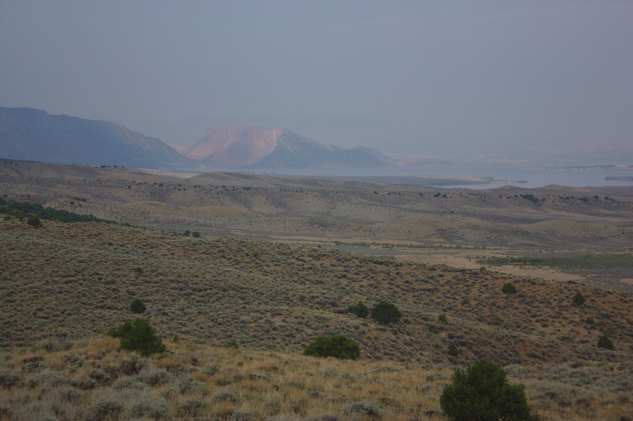 Cloudy/smokey view of the Flaming Gorge Reservoir